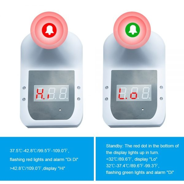 Wall Mount Self-service Automatic Non-contact Infrared Forehead Thermometer LCD Display with Alarm 6